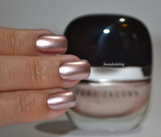 Marc Jacobs Nail Lacquer in Gatsby is a metallic champagne pink. It's rich…
