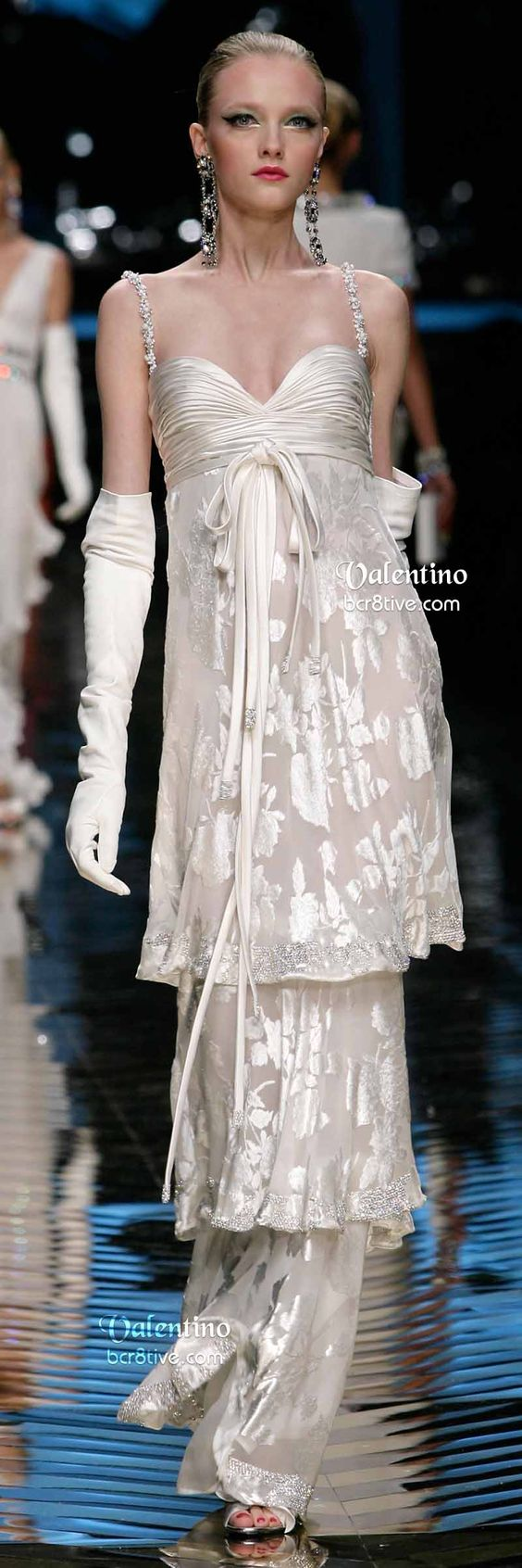 Valentino White Multi-Tiered Evening Gown - Farewell Valentino Collection