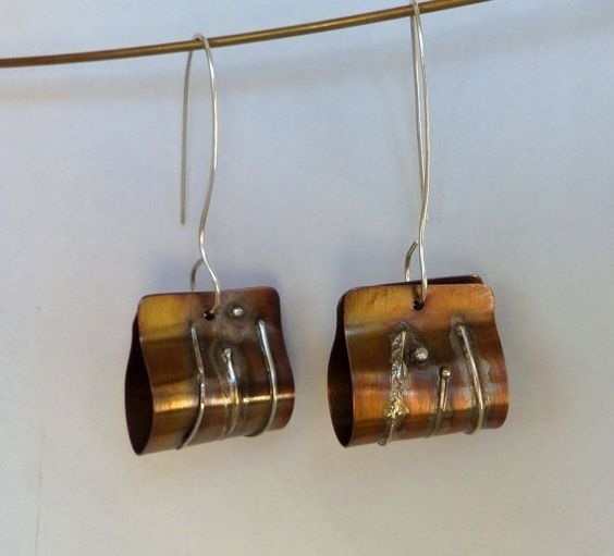 Boucles d'oreilles fusion argent cuivre par EmiliaMJewelry sur Etsy, $47.00