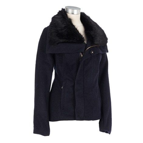 Wool-blend Jacket with Faux Fur Collar
