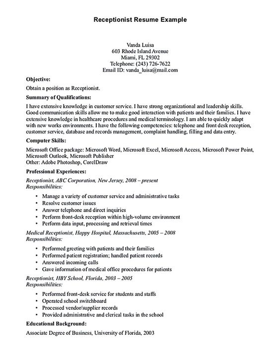Receptionist resume is relevant with customer services field - resume objectives for receptionist