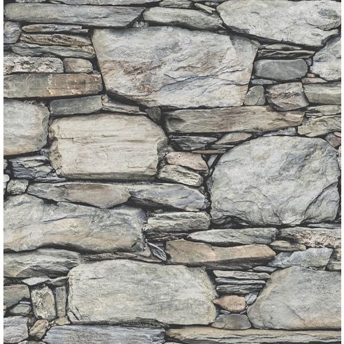 Brewster Wallcovering Reclaimed 56 4 Sq Ft Grey Non Woven Stone Unpasted Wallpaper Lowes Com Stone Wallpaper Grey Stone Wall Stone Wall