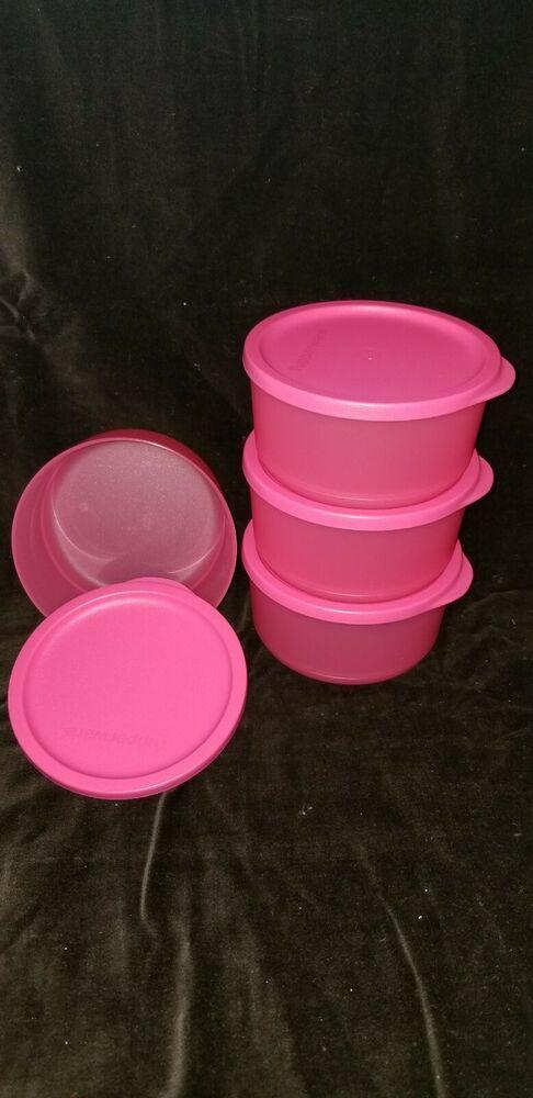 Tupperware Medium Basic Bright Containers Set Of 4 Pink 2 1 4 Cups New Tupperware Tupperware Spring Snacks Snack Set