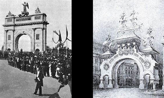 Triumphal Arch erected at the end of 1878 (left) for Romanian military parade following the victory in the War of Independence (1877-1878)