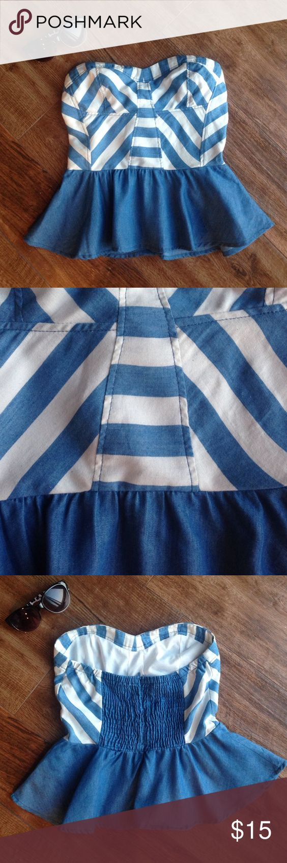 Final price ✨Peplum style cute shirt- size small Striped denim looking peplum shirt Tops Blouses