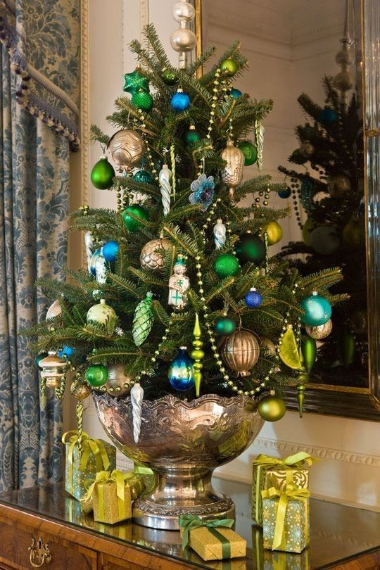 Traditional Christmas Tree In Silver Punch Bowl Clever Turquoise Christmas Tabletop Christmas Tree Small Christmas Trees