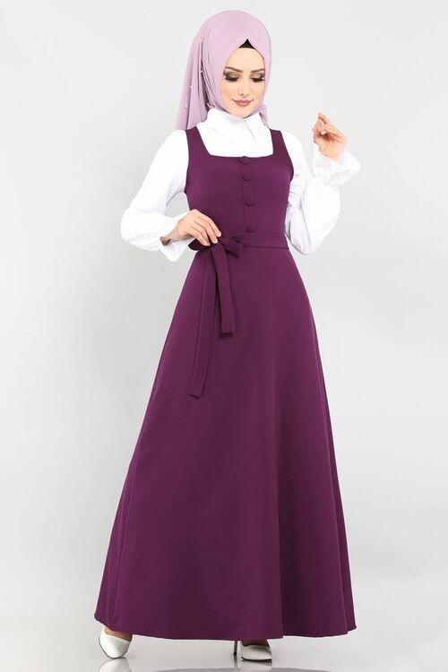 Modaselvim Elbise Dugme Detay Jile Ukb5022 Murdum Moda Stilleri Mutevazi Moda The Dress