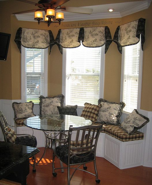 Bay windows bays and window on pinterest for Bay window treatments ideas kitchen