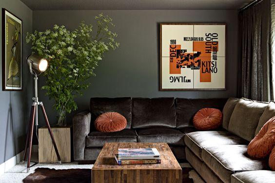 The art piece in the den was designed by JHID designer Emily Knudsen and screen-printed here in Portland. It includes dates, initials, and places of significance to the clients.