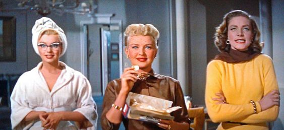 "Schatze Page (Lauren Bacall): ""You wanna catch a mouse, you set a mouse trap. All right so we set a bear trap. Now all we gotta do, is one of us has got to catch a bear."" // Loco Dempsey (Betty Grable): ""You mean marry him?"" // Schatze Page: ""If you don't marry him, you haven't caught him, he's caught you."" -- from How to Marry a Millionaire (1953) directed by Jean Negulesco"