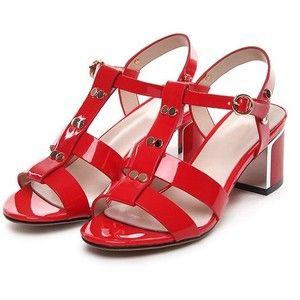 LUCLUC Red Studded T Strap Sandals