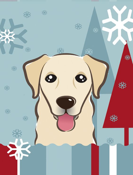Winter Holiday Golden Retriever 2-Sided Garden Flag