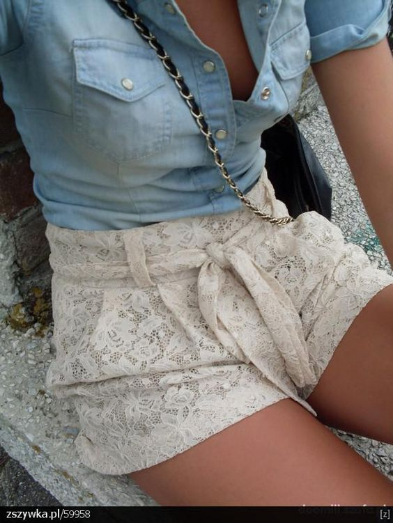 blue botton down + lace shorts