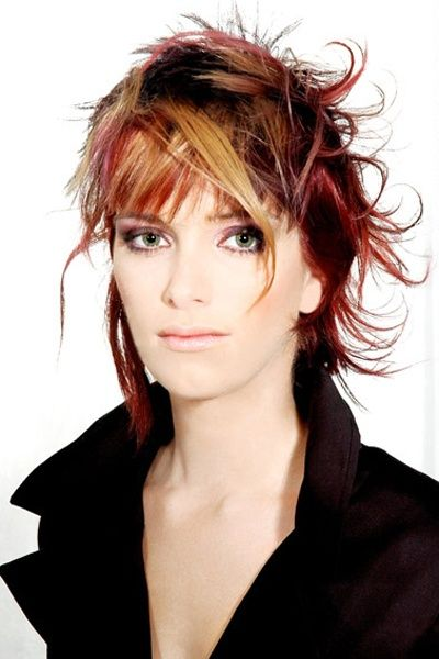 Insanely Coloured Messy Layered Cut - Red Hair