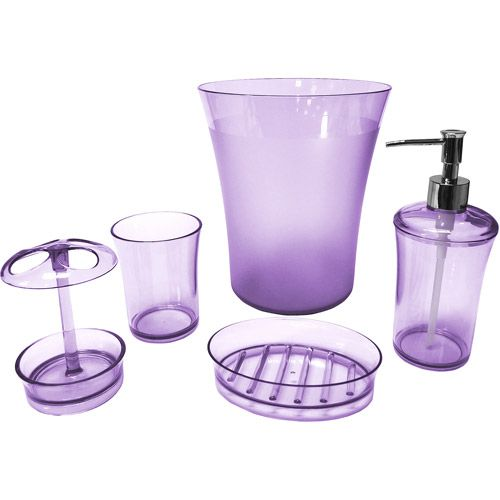 Walmart purple bathroom accessories and purple on pinterest for Bathroom accessories at walmart