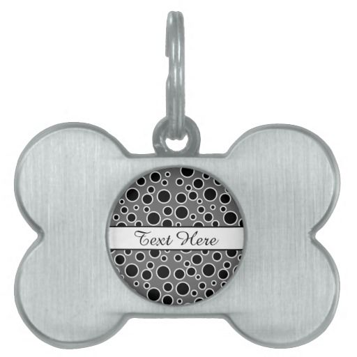 Customizable Black and White Dots Pet Tag