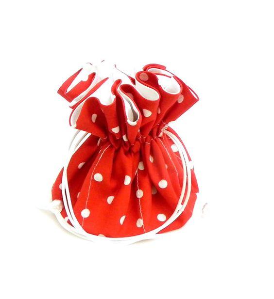Drawstring Jewelry Pouch Jewelry organizer Red and white polka