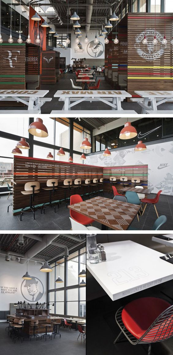 Nike Netherlands headquarter cafeteria designed by studio UXUS. Love the sports facts on the tables.