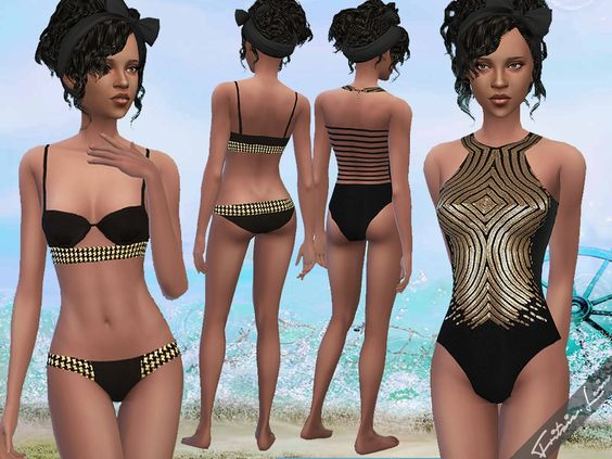 This file includes a pretty bikini in black and gold and a golden sequinned swimsuit. Found in TSR Category 'Sims 4 Female Swimwear'