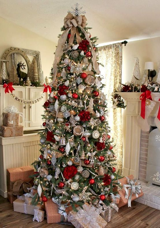 Perpetuallychristmas Mycozywinter Source Pinterest Christmas Posts All Year New Posts Ev Red Christmas Tree Silver Christmas Tree Gold Christmas Tree
