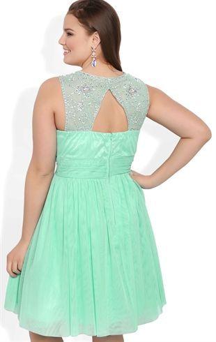 plus size short prom dress with stone trim keyhole back | my style