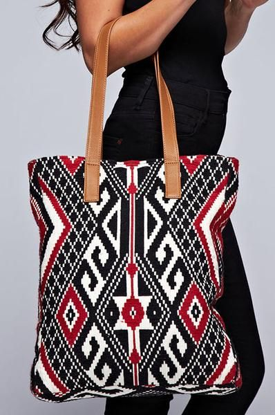 Vibrant Red Black and Ivory Indie Style Aztec Print Tapestry Tote by Love Stitch: