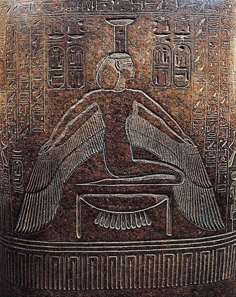 Granite Sarcophagus of Ramesses IIIDetail of goddess Nephthys...