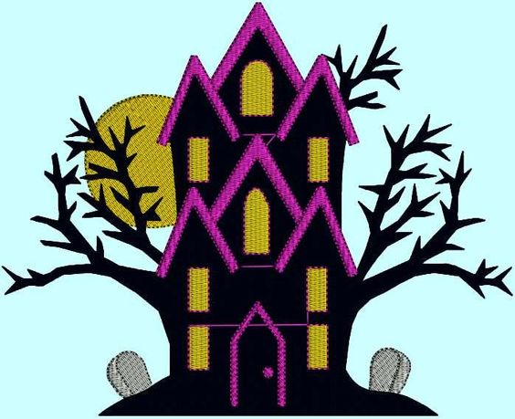 Halloween Haunted House Ghost Goblin Monster Trick or Treat Spooky by DesignsByTheStitch