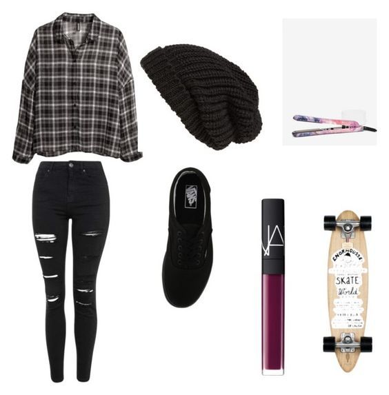 """""""Skater"""" by irmakuns on Polyvore featuring Eva NYC, H&M, Tarnish, Isabel Marant, Topshop, NARS Cosmetics and Vans"""
