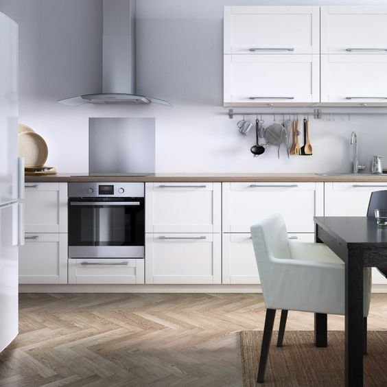 Modern white eat in ikea kitchen with stainless steel for Ikea kitchen modern white