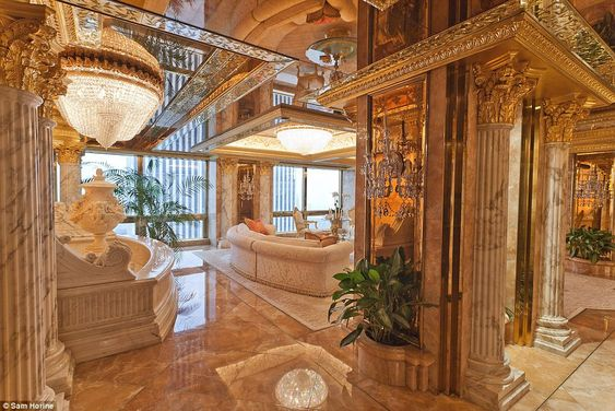 Lap of luxury: Donald and Melania Trump's New York City penthouse is on the 66th floor of Trump Tower and features marble walls, floors and columns throughout. 24-carat gold accents like platters, lamps, vases and crown molding that outlines each room and tableau ceilings: