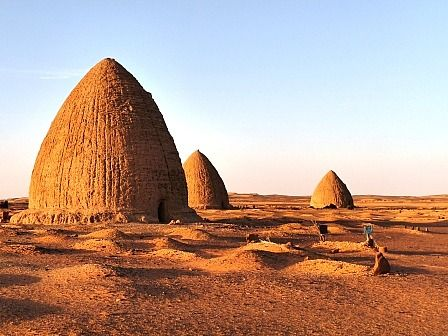 A cemetery in the desert surrounding the medieval city of Old Dongola, Sudan, on Monday, March 26, 2007. Old Dongola was the capital of the Christian kingdom of Makuria which, from the 7th to the 14th centuries, controlled the river Nile from the First Cataract southwards, possibly as far as Atbara.:
