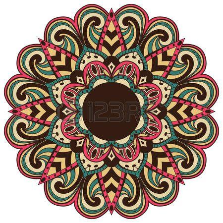 Farbe, Vektor-Mandala im Retro-Stil isoliert auf wei�em Hintergrund. ethnischen…