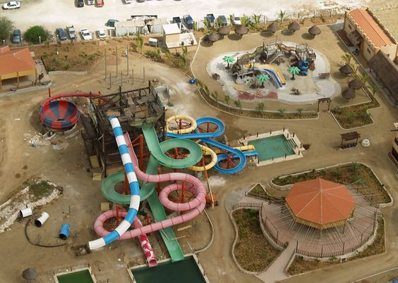Morgan's Island abandoned water park at Eagle Beach in Aruba. Opened in 2008, closed in 2010.