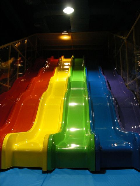 Indoor playground equipment new 6 lane wave slide for Indoor play slide