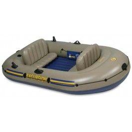 """Intex Schlauchboot """"Excursion 3 68319 Grau/Gelb  Kurzübersicht Für 3 Personen bis 300Kg Maße: 262 x 157 x 42 cm sehr gute Platzvehältnisse   Lieferumfang enthalten: • Boot • 2 Ruder • Pumpe • aufplasbare Kissen • Tasche zum Transport • Halteseil"""