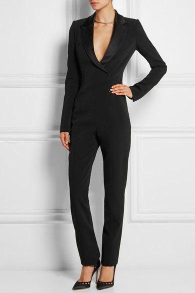 MUGLER Satin-trimmed stretch-crepe jumpsuit
