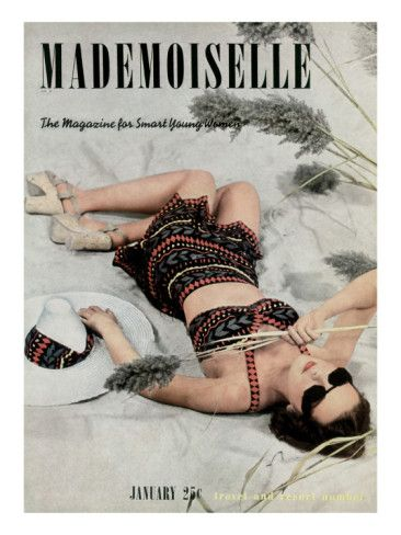 Mademoiselle Cover - January 1938 by Paul D'Ome with cover contest winner Kay Lohden. Deauville straw hat, Lido cork-soled sandals.