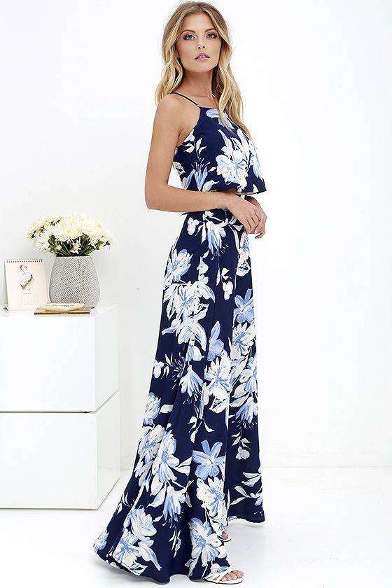 Love for Lanai Navy Blue Floral Print Two-Piece Maxi Dress | Blue ...