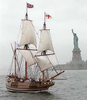 Replica of the 17th century ship Godspeed that brought the first English colonists to America. (no Statue of Liberty in the 17th century) :)