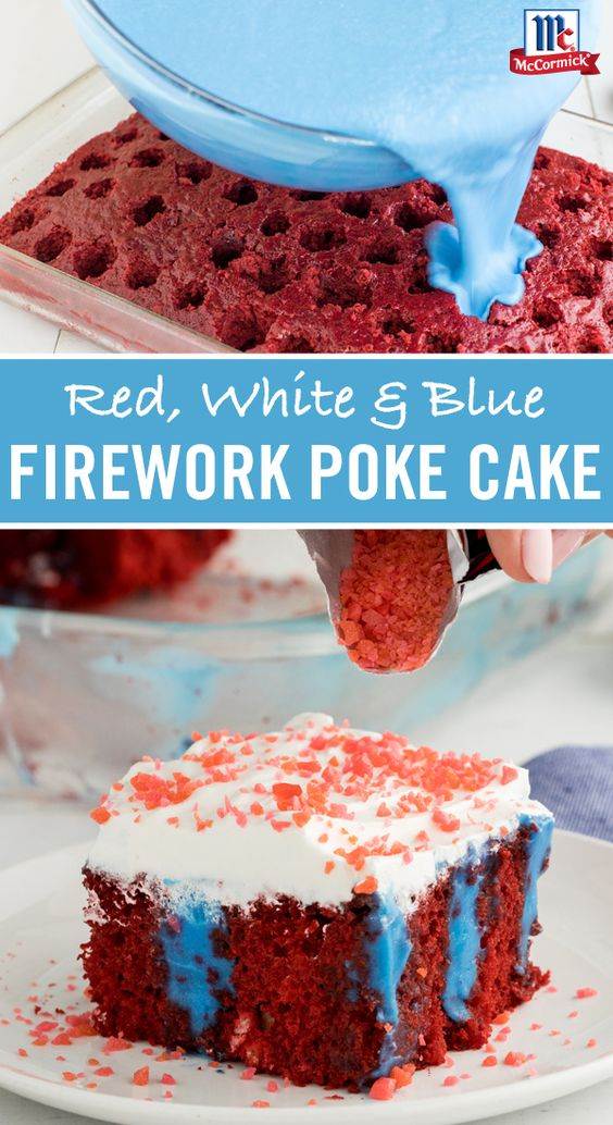 Show your pride for the red, white and blue with this moist, colorful pudding poke cake recipe. Use a variety of food colorings to create beautiful hues. Top with Pop Rocks®️ for a fun finish to this festive Fourth of July dessert.