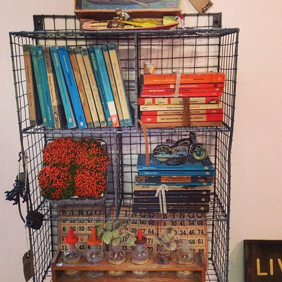 Cute wire baskets and books