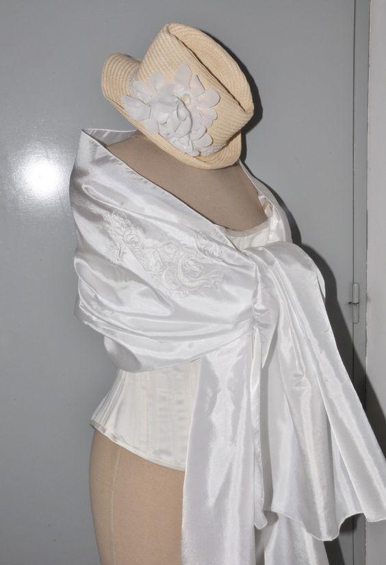 Tole charpe ch le de mari e brod e vintage pour mariage en taffetas blanc mariage et vintage - Chale blanc mariage ...