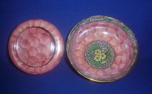 Vintage Maling Peony Rose deep pin dish and bowl