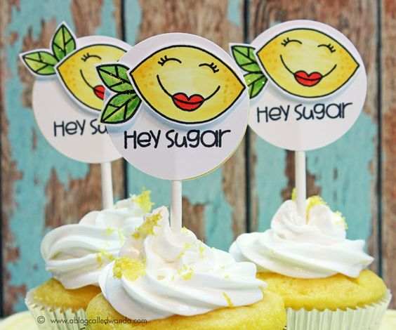 Paper Smooches stamps to decorate some lemon cupcakes! By Wanda Guess