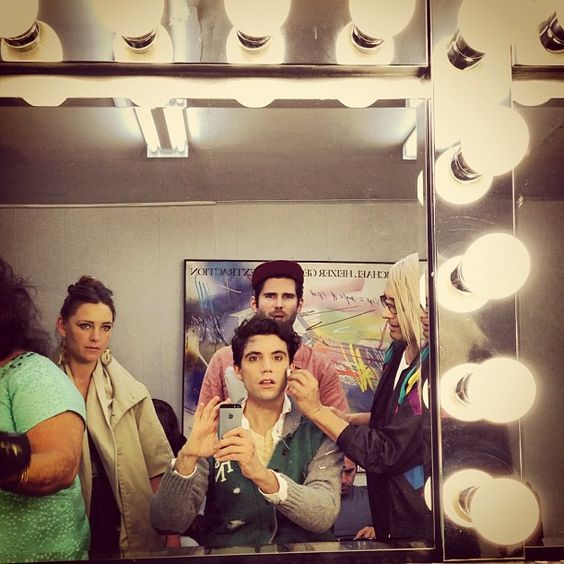 Mika selfie - prepping for the Underwater videoshoot, with his sister Yasmine, his mum's arm, and some makeup/hair guys