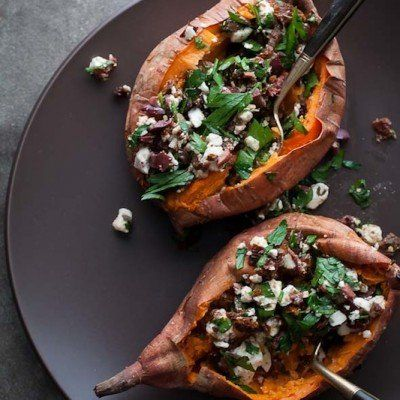 http://www.skinnymom.com/2013/10/20/baked-sweet-potatoes-stuffed-with-feta-olives-and-sundried-tomatoes/