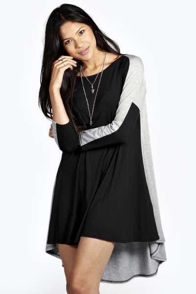 Hannah Colour Block Dip Hem Swing Dress at boohoo.com