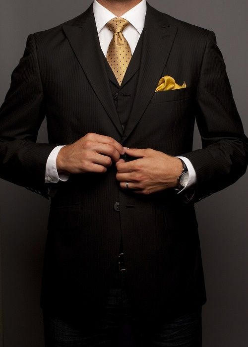 BEST SUIT: Well-suited in gold // If you only have one suit go with a well tailored classic black. Add a power tie and everyone will assume your a VIP