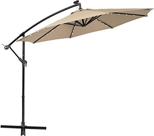 Enjoy Exclusive For Phi Villa 10ft Offset Hanging Umbrella 32 Pcs Led Lights Solar Powered Patio Umbrella Crossbase 8 Ribs Beige Online Patio Hexagon Gazebo